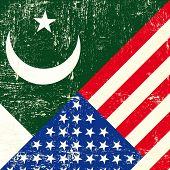 stock photo of pakistani flag  - USA and Pakistani grunge Flag - JPG