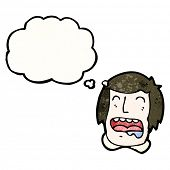 cartoon drooling face with thought bubble