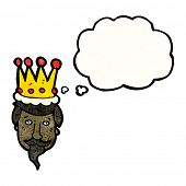 king's head with thought bubble cartoon