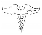 Hand drawn Caduceus,Vector illustration.