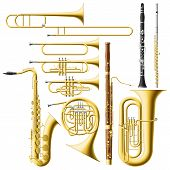 stock photo of clarinet  - Layered vector illustration of collected Wind Instruments - JPG