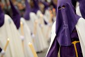 BARCELONA - MARCH, 29: Nazarene with Barefoot during the Holy Week parade celebration in L'Hospitale