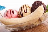 stock photo of banana split  - gourmet banana split - JPG