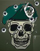 Retro crânio e boina militar motivo