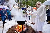 NAGANO, JAPAN -  FEB 4: Shinto Ascetics perform ancient rites February 4, 2013 in Nagano, JP. Known