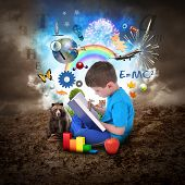 Boy Reading Book With Education Objects