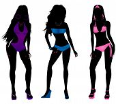 foto of monokini  - Vector Illustration of three different swimsuit silhouette women in bikini and monokini swimwear - JPG