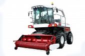 stock photo of combine  - Red modern combine separately on a white background - JPG