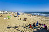 People Enjoy The Beach In Redondo Beach