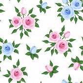 Seamless pattern with pink and blue roses. Vector illustration.
