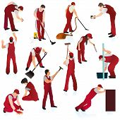 Set O Thirteen Professional Cleaners In The Red Uniform.eps