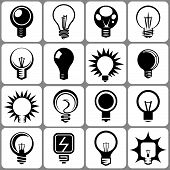 16 electric bulb icon set