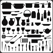 kitchenware set of 57 object silhouettes