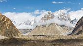 stock photo of karakoram  - Trango Towers and Baltoro Glacier Karakorum Pakistan - JPG