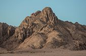 mountain in the desert in a sunset