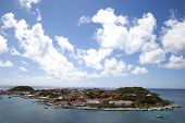 Aerial view of Gustavia Harbor at St Barts
