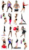 Young Woman Exercising Collage - Yoga,fitness,pilates,aerobics On Isolated White Background
