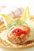 Delicious rissole decorated grilled tomato and dill