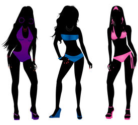 image of monokini  - Vector Illustration of three different swimsuit silhouette women in bikini and monokini swimwear - JPG