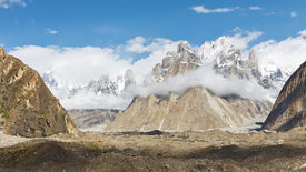 stock photo of skardu  - Trango Towers and Baltoro Glacier Karakorum Pakistan - JPG