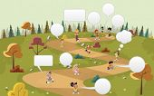 Cartoon children talking with speech balloon over path on the green park