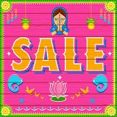 illustration of Sale Background in Indian Truck paint style