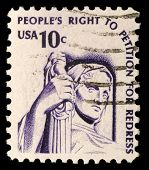 USA - CIRCA 1975: A stamp printed in the USA shows Contemplation of Justice (statue, J. E. Fraser),