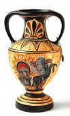 A reproduction of a Nikosthenic black figure amphora from the Hellenistic period. The original is fr