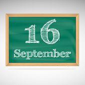 September 16, inscription in chalk on a blackboard