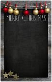 Merry Christmas Restaurant Menu Wooden Blackboard Copy Space