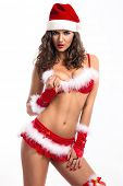 Attractive Santa girl posing in red  erotic lingerie