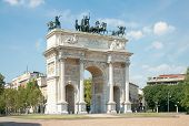 Arc Of Peace (xix Century) In Sempione Park, Milan, Italy