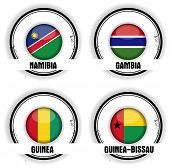 4 stamps african flags