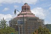 stock photo of asheville  - Downtown Asheville City Hall building under rennovation is bristling with construction scaffolding - JPG