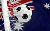 Australia Waving Flag And Soccer Ball In Goal Net