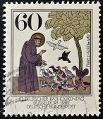 A stamp printed in Germany shows St. Francis of Assisi