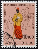 ANGOLA - CIRCA 1957: A stamp printed in Portugal dedicated to people of Angola, circa 1957