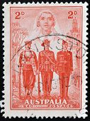 stamp shows the Nurse Sailor Soldier and Aviator Australias participation in WWII