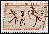 stamp printed in Chad shows Rock Painting Archers