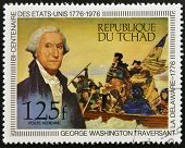 stamp shows shows Washington crossing the Delaware by Emanuel Leutze