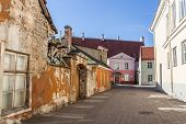Colorful Old Street In The Center Of Tallinn