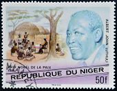 A stamp printed in Niger shows Nobel Peace Prize Albert John Lutuli