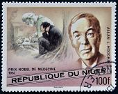 A stamp printed in Niger shows Nobel Prize in Medicine Alan L. Hodgkin