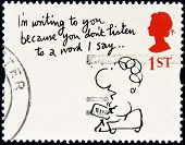 A stamp printed in Great Britain shows 'I'm writing to you because...' (Mal Calman)
