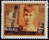 A stamp printed in USA dedicated to Women in Journalism shows Nellie Bly