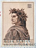 A stamp printed in Vatican dedicated to Anniversary of Birth of Dante
