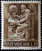 stamp printed in Vatican shows Bas reliefs of arts and crafts geometry