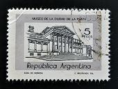 A stamp printed in Argentina shows museum of the city of La Plata