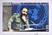 a stamp printed in Cuba showing an image of Fidel Castro
