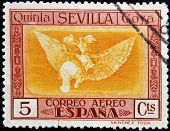 A stamp printed in Spain shows Quinta de Goya in Seville Expo Disparate Volante